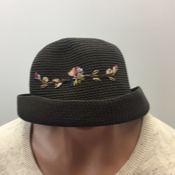 ac3094105 Bowler ladies hat brown embroidered silky flowers